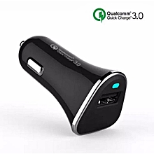 Qualcomm Certificated QC3.0 15W Quick Fast 9V 2.5A 5V 3A Vehicle Car Charger BK