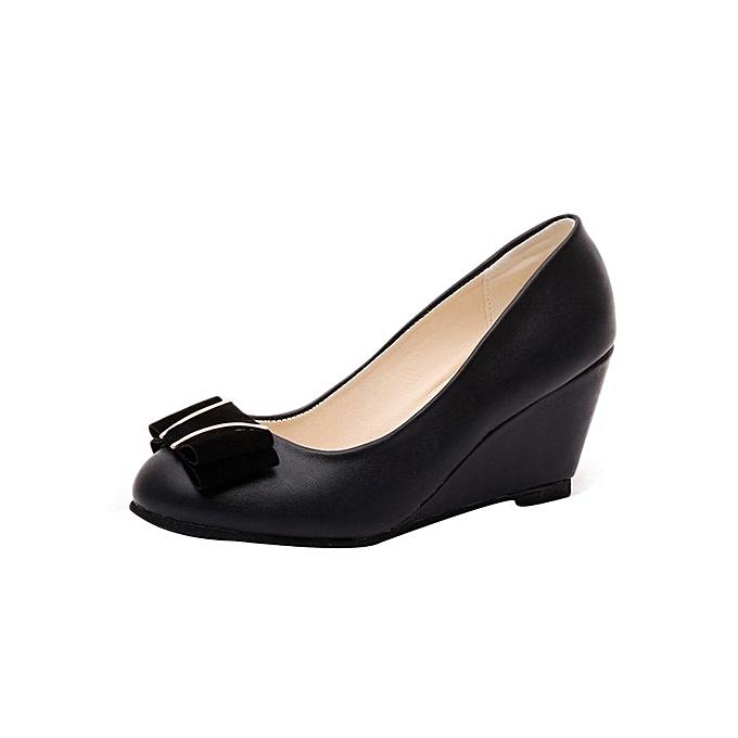 f4e9382c1 Spring Summer Wedge Heel Shoes Platform Bow Tie Round Toe Ladies Shoes-Black  (EU