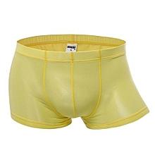 Men's Thin Translucent Breathable Ice Silk Low Waist U Convex Boxers Underwear Yellow
