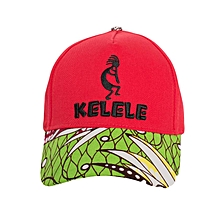 Red And Green Baseball / Sports Hat With Kelele Color On Brim