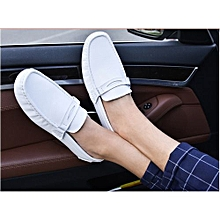 White Men's Soft Leather Loafer Shoes