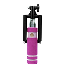 Handheld Extendable Self-Pole Tripod Monopod Stick For Smartphone -Hot Pink