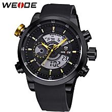 Watches, 3401 Brand Men PU Strap Quartz Digital Casual Sports Watch Multifunction Clock - Black