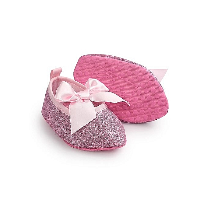 4e16c56d8152 ... Baby Girls Bowknot Soft Sole Princess Shoe Soft Shoes Flats Glitter  Shoes - Pink ...
