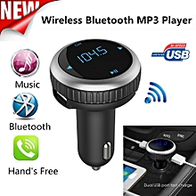 Hiamok_Wireless Bluetooth LCD FM Transmitter Modulator USB Car Kit MP3 Player
