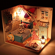 Hoomeda Summer Romance DIY Wood Dollhouse Miniature With LED Furniture Cover    -