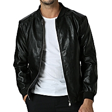 Mens Fashion Flaux Leather Casual Fit Motorcycle Style Casual Black Jacket