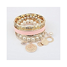 New Korean Style Girls Exquisitein Pearl Hollow Bracelet Jewelry-Pink