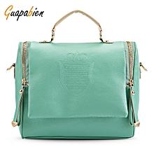 Guapabien Vintage Female PU Leather Shoulder Crossbody Bag for Women-BLUE GREEN