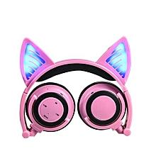 Foldable Flashing Glowing Cat Ear Headphones Wired Video Gaming Headset Hifi Stereo Mp3 Music Player Walkman Earphone Pink