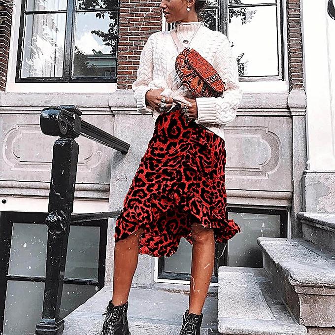 a8895059f0217b jiahsyc store Leopard Print Vintage Long Women's Casual High Waist Pleated  Skirt