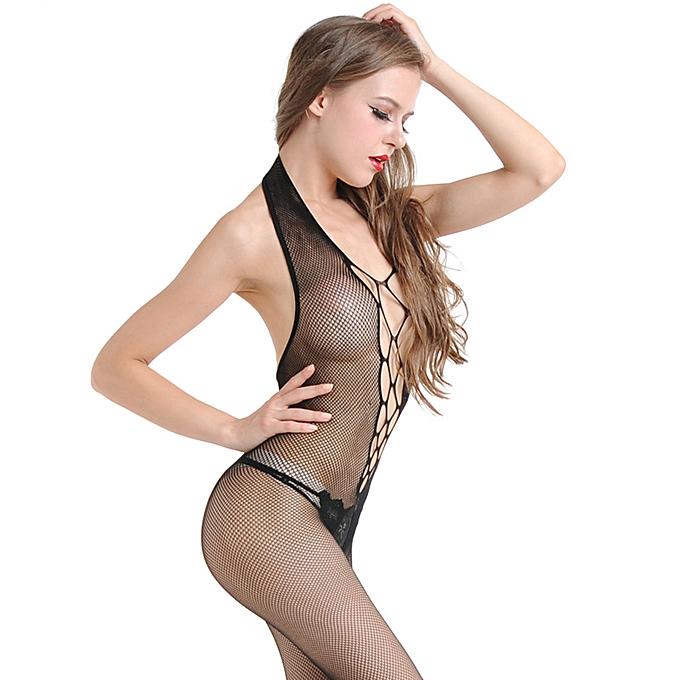 88b957532 ... New Sexy Women Fishnet Lingerie Bodystocking Hollow Out Halter Open  Crotch Erotic Bodysuit Nightwear Black ...