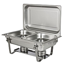 Signature Chafing Dish Stainless Steel Double Tray Buffet Catering - Silver .