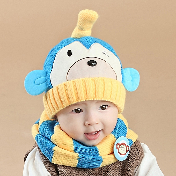 7bc4566d6ba Baby Boys Girls Kids Cartoon Monkey Hat+Scarf 2Pcs Child Knitting Warm Hats  Cap-