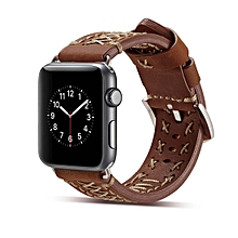 Fashion Weave Leather Wrist Watch Band for Apple Watch Series 3 & 2 & 1 42mm(Dark Brown)