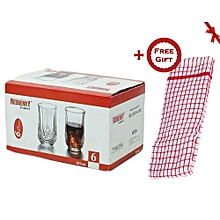 6 Pcs Drinking Glasses Set - Clear (+ Free Gift Hand Towel).