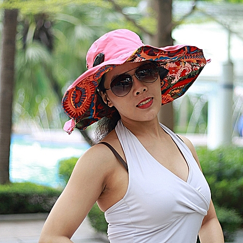 New Nylon BT Sun Hats Large Brimmed Bohemian Big Flower Hat For Woman  Summer Music Hat a6063d25734