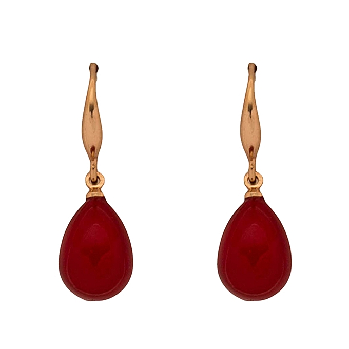 Red Ruby Pearl Drop Earrings With Gold Hook