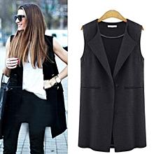 jiuhap store Womens Sleeveless Jacket Long Coat Cardigan Gilets Vest Outwear Coat Cardigan-Black