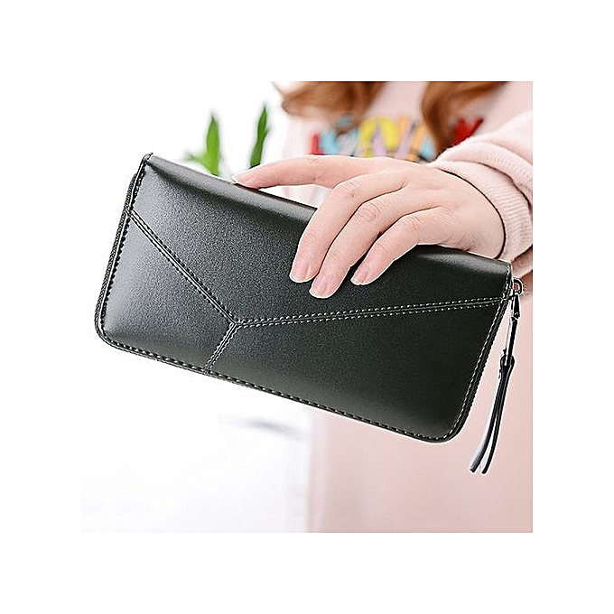 c7353cb7c039e8 ... UJ Women Zipper Purse Multifunctional Hand Bag PU Leather Money  Organizer Wallet-army Green ...
