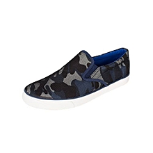 Navy Camouflage Print Slip On Casual Shoes