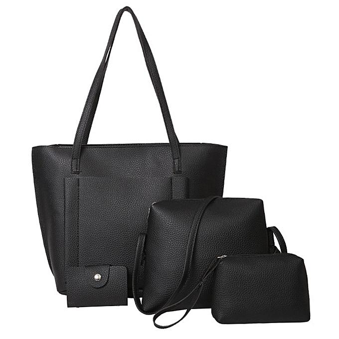 55f5a03886 ... guoaivo Women Four Set Handbag Shoulder Bags Four Pieces Tote Bag  Crossbody Wallet