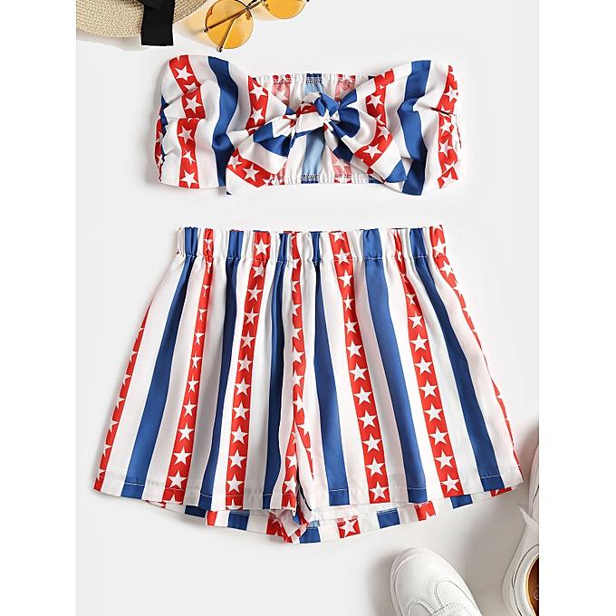 b3bd10faeef ZAFUL American Flag Bandeau Top and Shorts Set