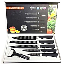 Non-Stick  Stainless Steel 6 pcs Daily Use Sharp Knife Set, Black