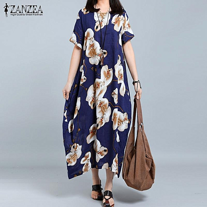 b5abfff661982 ZANZEA Women O-Neck Short Sleeve Casual Loose Shirt Dress Retro Floral Print  Long Dress
