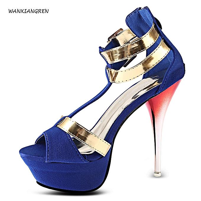 19a737a1a83 Sexy Zipper Design High Heel Sandals-BLUE