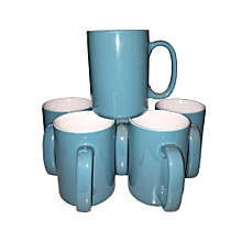 Coffee Tea Mug - Set of 6 - Large - Blue & White