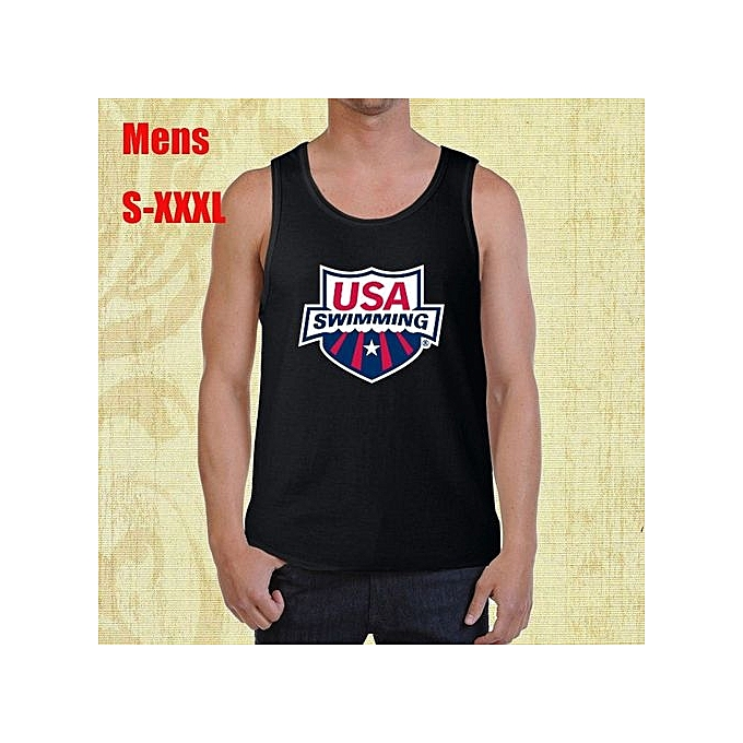 64cfc54c08dec Usa Swimming Team Swim Meet Logo Mens Tank Top Shirt Cotton Printed Short  Sleeves Funny Graphic