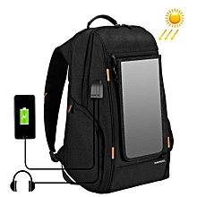 Outdoor Multi-function Solar Panel Power Comfortable Breathable Casual Backpack Laptop Bag(Black)