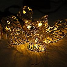 Solar Lights String 20LED Iron Leaves Christmas Decorations Garden Lights LED String Lights Warm White