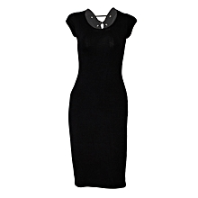 Black Dress With Back Loops And Leather Shoulder
