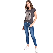 Dark Grey Printed Standard Female T-Shirt