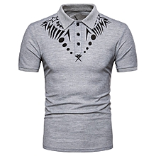 Men's Summer Casual African Print Muscle Pullover Short Sleeve Shirt Top Blouse