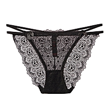 Sexy triangle bottoms transparent ladies underwear women's lace large size-black