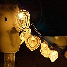 Solar Light String 20LED Heart Shape Modeling Lanterns Christmas Decorations String Lights Outdoor Waterproof Warm White