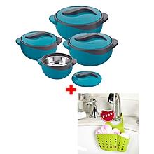 Set of 4 Pinnacle Parisa Hot Pot Serving Bowls + FREE Sink Organiser - Solid Blue