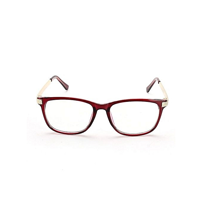 26b132918e Retro Unisex Eyeglass Frame Full-Rim Glasses Clear Lens Metal Women Men  Designer Wine Red