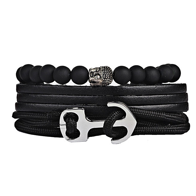 Men S Anchor Bracelet Bangle Male Multilayer Accessories Homme Jewelry Black Color Leather Bracelets