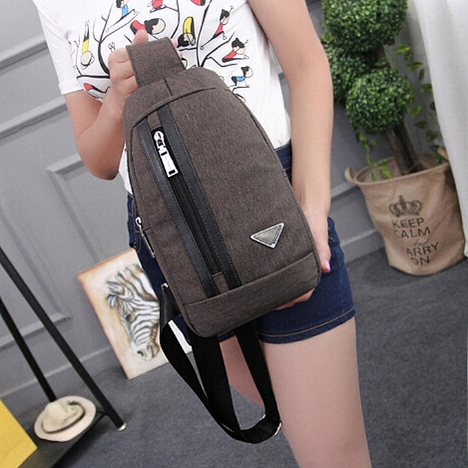 6368c3c13069 ... koaisd Unisex Outdoor Sports Canvas Unbalance Backpack Crossbody Shoulder  Bag BW ...
