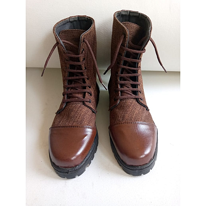 Casual Mid Calf Brown Jute on Leather Viking Boots