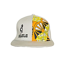 Light Grey And Orange Snapback Hat With Kelele Color On Panel