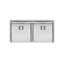 Texas Dual Bowl - Rectangle - 30cm x 40cm x 18cm (x 2) - Silver
