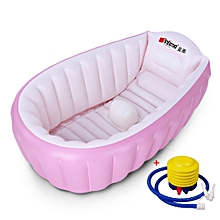 Inflatable Baby Bathtub,Topist Portable Mini Air Swimming Pool Kid Infant Toddler Thick Foldable Shower Basin With No Slip At Central With Pump