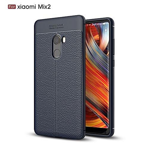 sale retailer 79f61 6e508 Xiaomi Mi Mix 2 Silicone Case Litchi Pattern TPU Anti-knock Phone Back  Cover - Blue