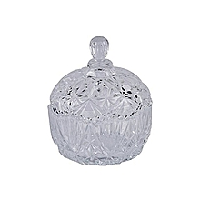 Crystals High Grade Glass-Bowl-Glass-Candy-Pot-with-lid-Sugar dish .