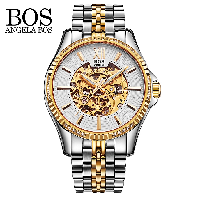 fd3d49cf3 Angela Bos Luxury Automatic Mechanical Wristwatch 3ATM Water Resistant  Analog Man Self-winding Skeleton Watch